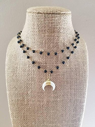 - Small Crescent Horn Rosary Chain Beaded Choker Necklace Double Strand Black Onyx Stones Gold Chain Double Horn