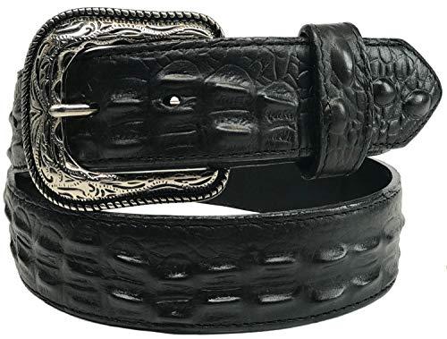 Tri Star Men's Caiman Print Belt - Black - BLACK - 42
