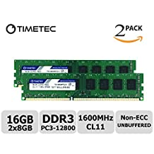 Timetec Hynix IC 16GB Kit (2x8GB) DDR3 1600MHz PC3-12800 Non ECC Unbuffered 1.35V/1.5V CL11 2Rx8 Dual Rank 240 Pin UDIMM Desktop Memory Ram Module Upgrade (16GB Kit (2x8GB))