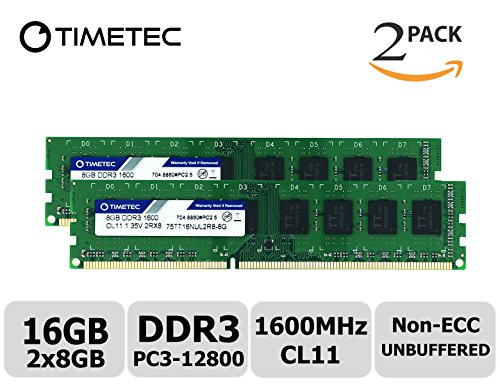 Timetec Hynix IC 16GB Kit (2x8GB) DDR3 1600MHz PC3-12800 Non ECC Unbuffered 1.35V/1.5V CL11 2Rx8 Dual Rank 240 Pin UDIMM Desktop Memory Ram Module Upgrade (16GB Kit - Tyan Motherboard Server