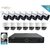 LaView 1080P IP 16 Camera Security System, 16 Channel IP PoE HDMI NVR (Resolution 1080p - 6MP) w/3TB HDD and 8 Dome & 8 Bullet High Resolution 2MP White Surveillance Camera Kit