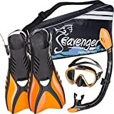Seavenger Diving Snorkel Set - (Black Silicon/Orange) - S