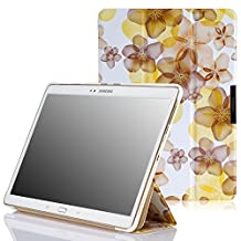 MoKo Samsung Galaxy Tab S 10.5 Case - Ultra Slim Lightweight Smart-shell Stand Cover Case for Samsung Galaxy Tab S 10.5 Inch Android Tablet, Floral YELLOW (With Smart Cover Auto Wake / Sleep)