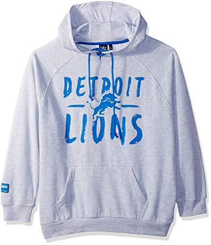 NFL Detroit Lions Women's Fleece Hoodie Pullover Sweatshirt Tie Neck, Large, Heather Gray