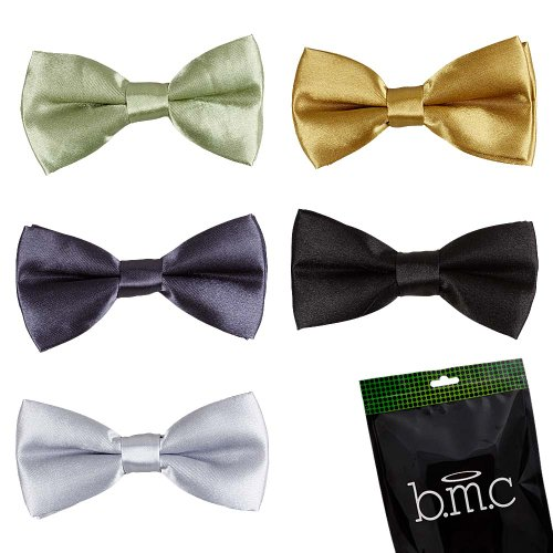 Bundle Monster Stylish Dashing 5pc Boys Tuxedo Novelty Adjustable Neck Bow Tie Lot , Dapper Junior Collection - SET (Bundle Set)