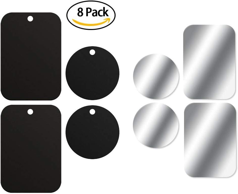 iVoler. Láminas Metálicas [ 8 Piezas ] Placa de Metal con 3M Adhesivos para Soporte móvil coche iman / soporte móvil coche magnético (4 Redondas y 4 Rectangulares): Amazon.es: Electrónica