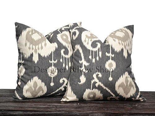 - Charcoal Gray Ikat Pillow Cover Set