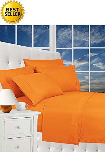 CELINE LINEN Luxurious Bed Sheets Set on Amazon 1800 Thread Count Egyptian Quality Wrinkle Free 4-Piece Sheet Set with Deep Pockets 100% Hypoallergenic, Queen Vibrant Orange (Bedroom Orange Set)