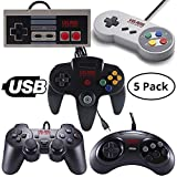 Vilros Retro Gaming 5 USB Classic Controller Set- Nintendo (NES), Super Nintendo (SNES), Sega Genesis, Nintendo 64 (N64), Playstation 2 (PS2) Great for RetroPie,PC, Raspberry Pi Gamepad