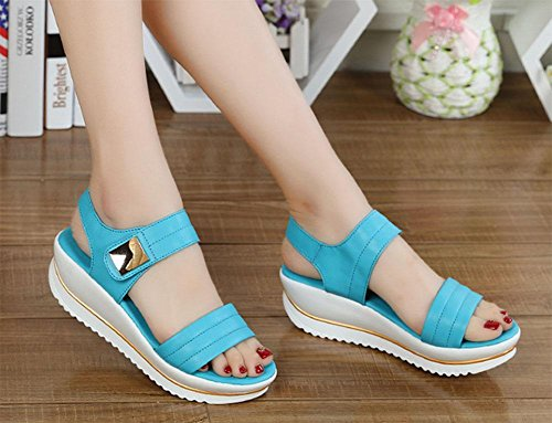 toe word shoes wild deduction metal pure shoes blue Sandals with casual female comfortable color Iw56TxqY
