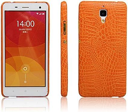 zl one Funda Xiaomi Mi4 PU Cuero Patrón Cocodrilo Bumper Back Case Cover (Amarillo)