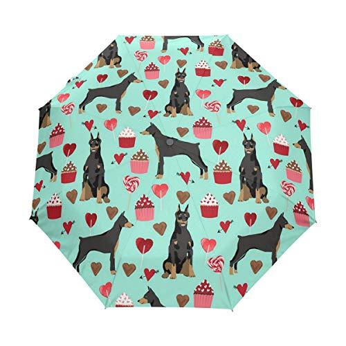 (HLive Travel Umbrella Doberman Pinscher Dog (2) Auto Open Compact Folding Sun & Rain Protection Umbrella with UV Protection Windproof)