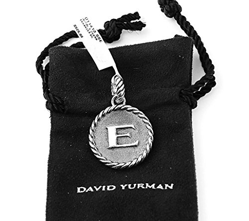 Silver Necklace Yurman David - David Yurman AMAZING SOLID STERLING SILVER INITIAL E 23 mm ROUND PENDANT