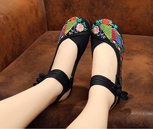 XHX Zapatos bordados, lenguado de tendón, estilo étnico, hembrashoes, moda, cómodo, zapatos de baile Black