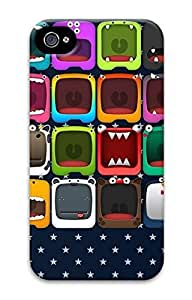 3D PC Back Case Cover for iPhone 4 DIY Custom Hard Shell Skin for iPhone 4 With Smile