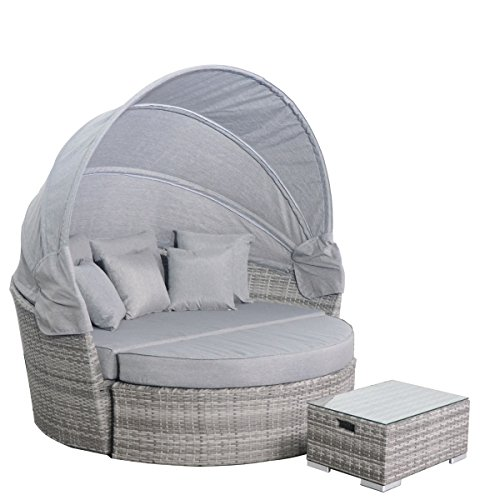 Outdoor Round Chaise (Yoto Rattan Wicker Outdoor Sofa Furniture Set Round Retractable Daybed with Canopy, Aluminium Frame,Grey Strips Patio Rattan,5pcs Back Cushion)