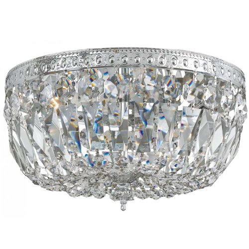 Crystorama Lighting 714-CH-CL-MWP Flush Mount with Hand Polished Crystals, Polished Chrome