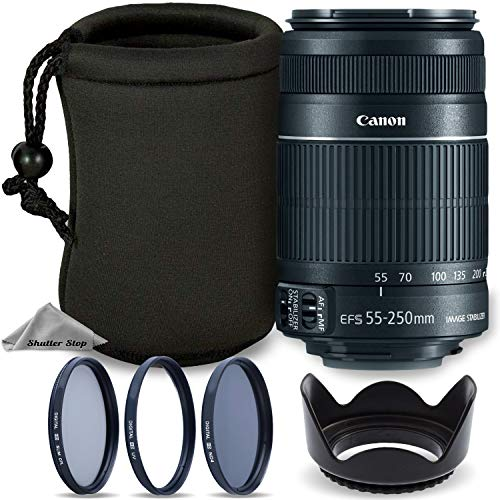 Canon EF-S 55-250mm F4-5.6 is Mark II Lens for Canon SLR Cameras + Tulip Lens Hood + 3 Piece Multi-Coated Filter Kit + Neoprene Protective Lens Pouch Travel Bundle