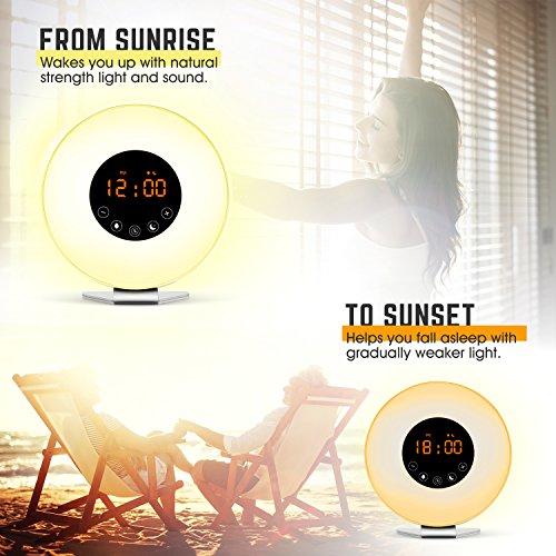 Wake Up Light Alarm Clock, Digital Sunrise Alarm Clock [2018 Upgraded] with Multi-Color LED Light, 6 Nature Sounds, FM Radio, Sunrise and Sunset Simulation Perfect for Bedside