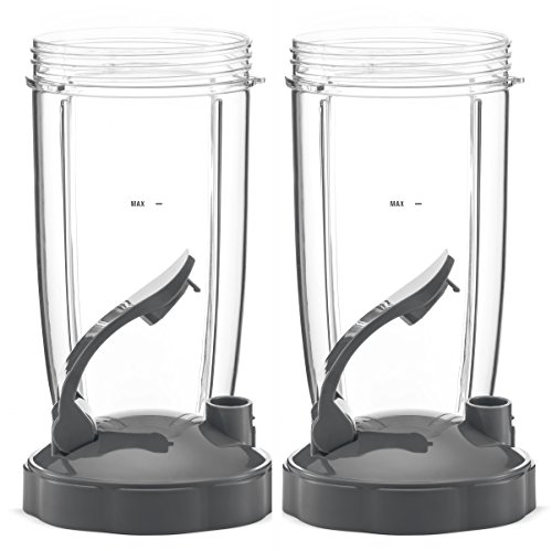 NUTRiBULLET 32-Ounce Cups with Flip Top To-Go Lid by NutriGear (Pack of 2) | NutriBullet Replacement Parts & Accessories | Fits NutriBullet 600w and Pro 900w Blender