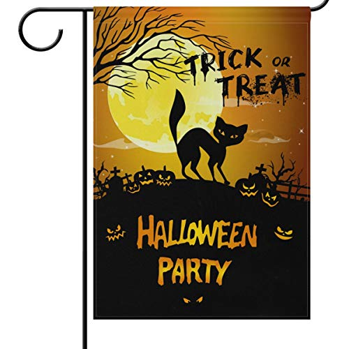 Wamika Halloween Garden Flags 12 x 18 Double Sided, Black Spooky Cat Pumpkins Trick Or Treat Funny Scary Welcome Autumn Fall Winter Holiday Outdoor Yard House Flags Banner for Party Home Decor]()