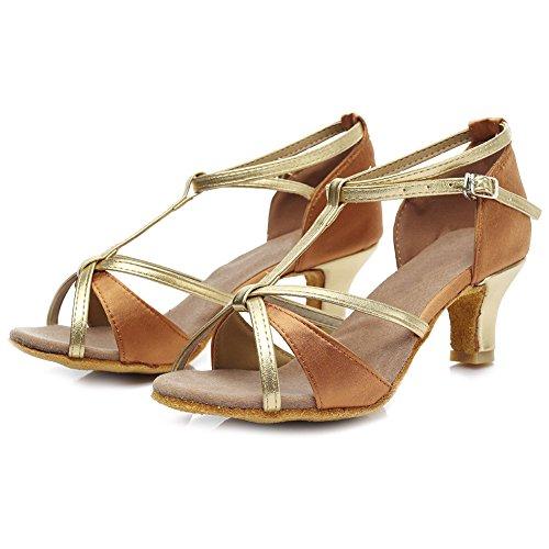 HROYL Zapatos de baile/Zapatos latinos de satín mujeres ES7-F55 5CM Marrón