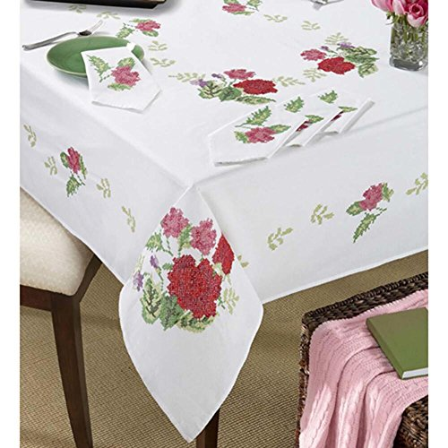 (Village LinensTM Fresh Roses Tablecloths Stamped Cross-Stitch)