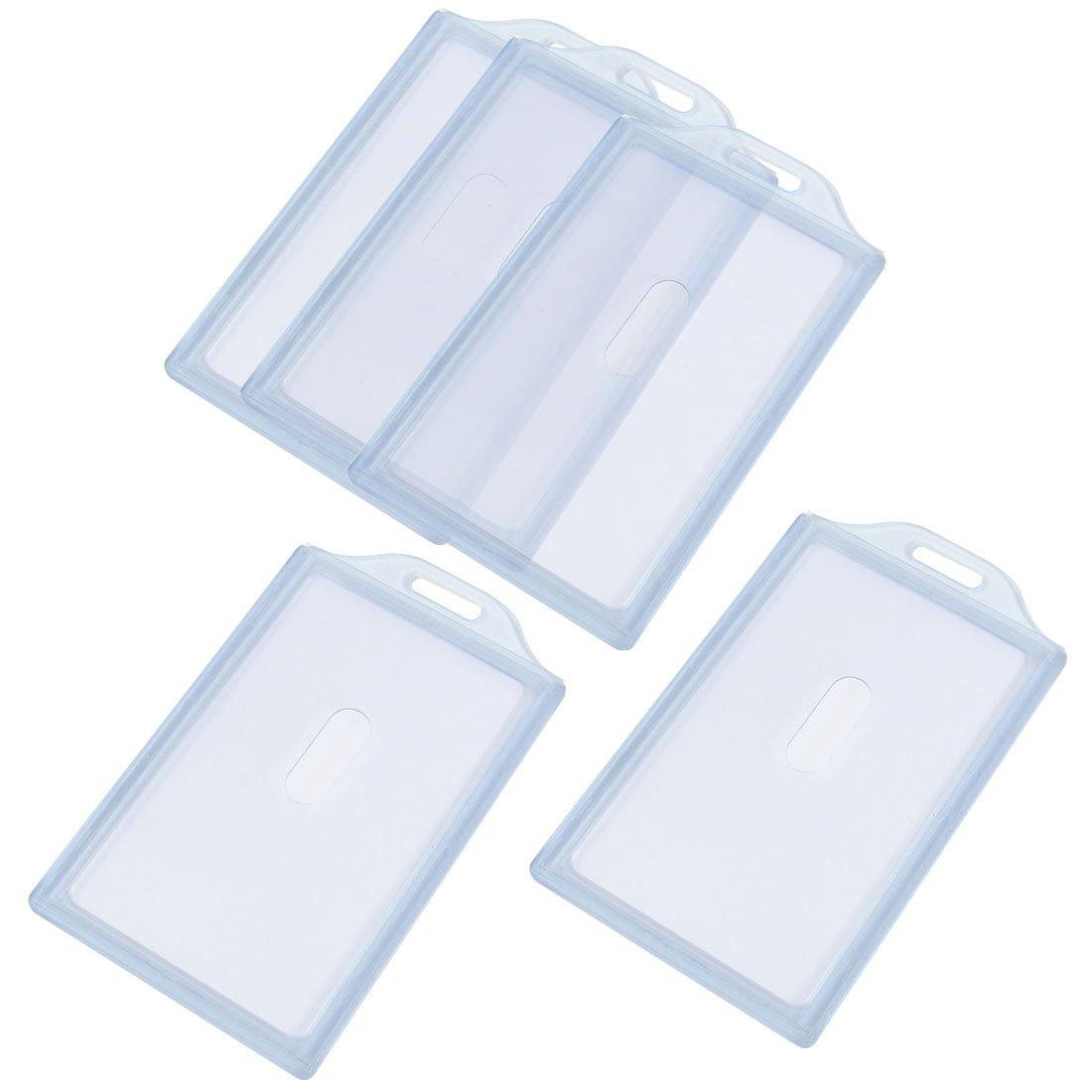ufficio lavoratori grigio plastica trasparente porta badge verticale carta 5pezzi SourcingMap a13030500ux0244