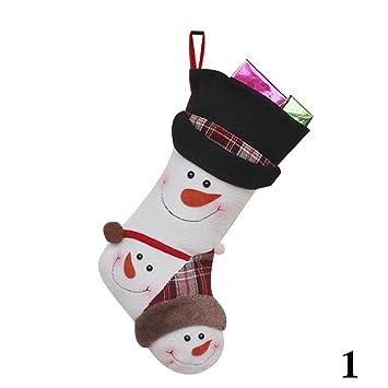 BENHAI Calcetines de Navidad Calcetines calcetín Relleno de Navidad Colgante Bolsa de Navidad Regalos Bonitos Personajes decoración, 1: Amazon.es: Hogar