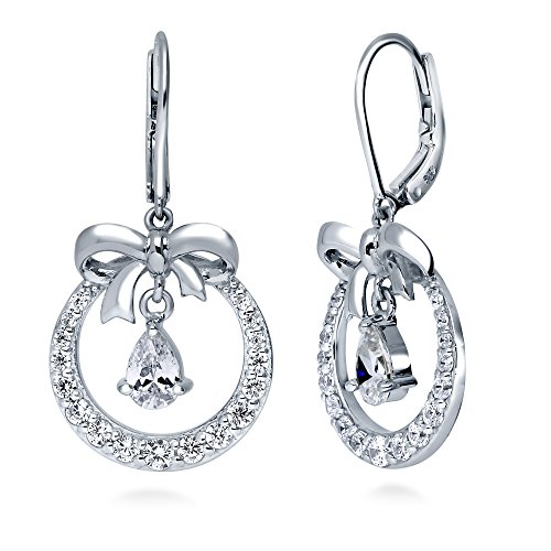 BERRICLE Rhodium Plated Sterling Silver Cubic Zirconia CZ Bow Tie Fashion Necklace and Earrings Set