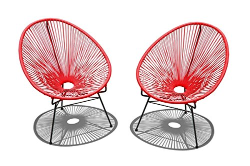 Harmonia Living HL-ACA-2LC-CAB 2 Piece Acapulco Lounge Chair Set, Candy Apple Red/Black