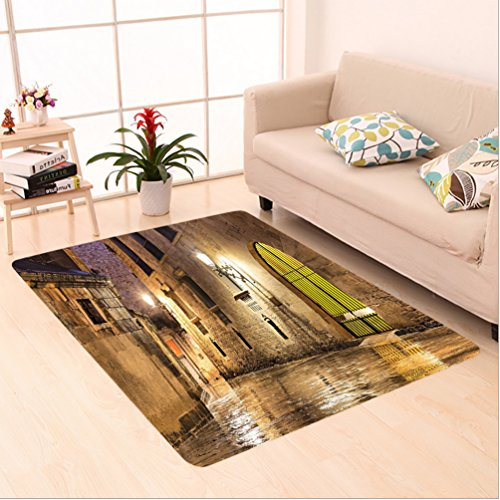 Nalahome Custom carpet ic Ancient Stone Quarter of Barcelona Spain Renaissance Heritage Gothic Night Street Photo Cream area rugs for Living Dining Room Bedroom Hallway Office Carpet (5' X 8') by Nalahome