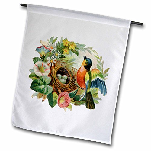 3dRose fl_104623_1 Vintage Colorful Bird Robins Nest and Lovely Floral Wreath Border Garden Flag, 12 by - Hanging Floral Wreaths
