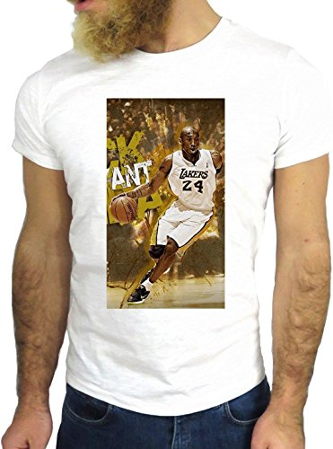 T SHIRT JODE Z1341 KOBE SPORT BASKET CHAMPION L.A. FUN COOL FASHION GGG24 BIANCA - WHITE S