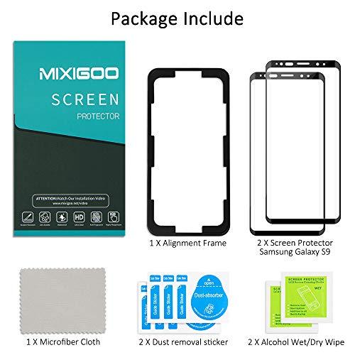 mixigoo 2 Pièces Verre Trempé pour Samsung Galaxy S9, Couverture Complète Film Protection écran Galaxy S9 avec Cadre d\'Alignement Anti-Rayures sans Bulles Protecteur D\'écran pour Samsung Galaxy S9