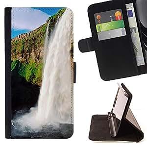 For HTC One M9 Case , Cascada Sol- la tarjeta de Crédito Slots PU Funda de cuero Monedero caso cubierta de piel