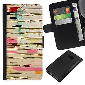 iBinBang / Flip Funda de Cuero Case Cover - Resumen de pintura de goteo Arte Pollock Líneas - HTC ONE M9