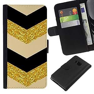 KLONGSHOP // Tirón de la caja Cartera de cuero con ranuras para tarjetas - Patrón Oro Negro Beige - HTC One M9 //