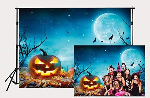 Dudaacvt 7ft x 5ft Halloween Scene Photography Moon Pumpkin Backdrop Photo Background Studio ()