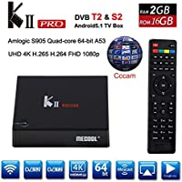 KII PRO Android TV Box DVB S2 DVB T2 + S2, YTAT Smart Streaming Media Players, 4K Smart KODI TV Box 2G+16GB with 2.4G/5G Wifi