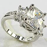 Lady/Womens 925 Silver Filled White Sapphire Wedding Ring Gift size 6-10 (7)