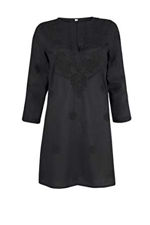 ff64ee784618 Ladies Black Beach Kaftan Cover Up with Hand Embroidery  Amazon.co.uk   Clothing