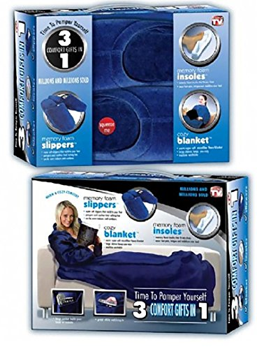 3 Comfort Gifts in 1- Small (Slippers, Blanket with leaves, Insoles) Memory foam