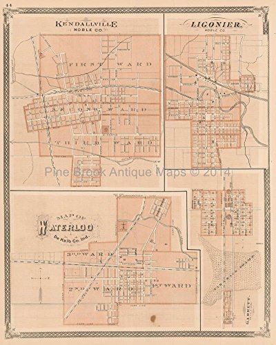 Kendallville Waterloo Ligonier Indiana Antique Map Authentic Decor History Anniversary (1876 Indiana Map)