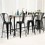 Bar Stool 30 Inch Belleze 24'' inch Indoor-Outdoor Counter Height Stool with Back, Set of (4) Black
