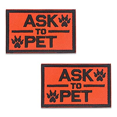 Elutong Dog Pathes 2 Pack Service Dog Reflective Light in the Dark - Ask to Pet Tags for Hook And Loop Patches Vests and Harnesses for Dogs, Puppy,Pets by