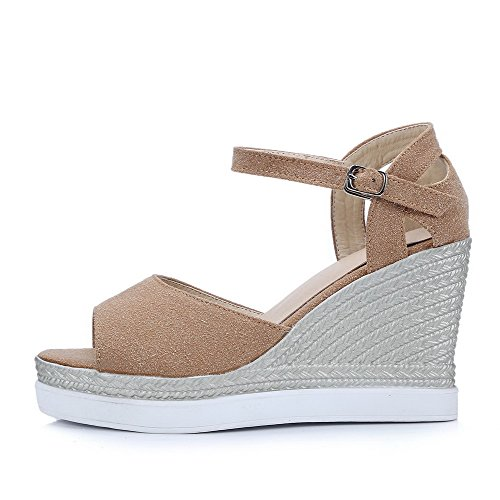 Frosted High Open AmoonyFashion Womens Sandals Buckle Solid Heels Toe Apricot 1xRxfTwnq