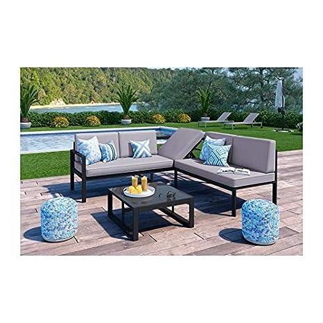 LOUNGITUDE Salon de Jardin 1 Table Basse + canape d`Angle ...
