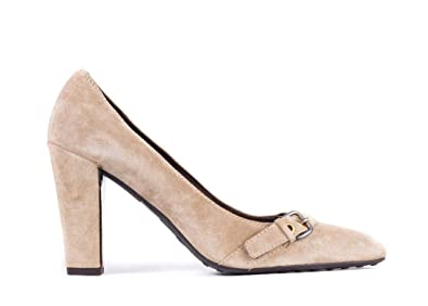 63a9c149a975 Car Shoe by Prada Brown Suede Buckled Square Toe Pumps Size 38.5 8.5~RTL