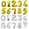 40 Inch Gold Alphabet A-Z Balloon Number 0-9 Balloon Birthday Party Decorations Helium Foil Mylar Letter Balloon
